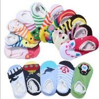 New Arrival Wholesale 50pairs/lot Cute Baby kKnitted Socks,Infant Baby Anti-slip Socks,6-18M Kids Indoor Socks 10 Designs
