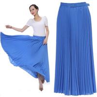 2014 spring and summer expansion bottom pleated skirt braces skirt chiffon bust skirt fairy skirt full with belt