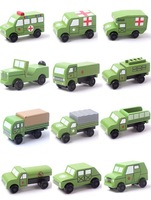 Wooden car toy wind 12 new military model portfolio series wheel movable