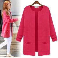 Small fresh women's 2014 loose medium-long yarn spring sweater female knitted cardigan