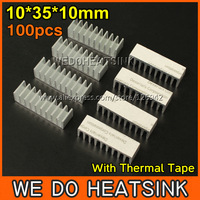 Free Shipping 100Pcs/Lot 10*35*10 mm DIY Extruded Epoxy Attach On Heatsink With Thermal Tape Aluminium Profile For DIP