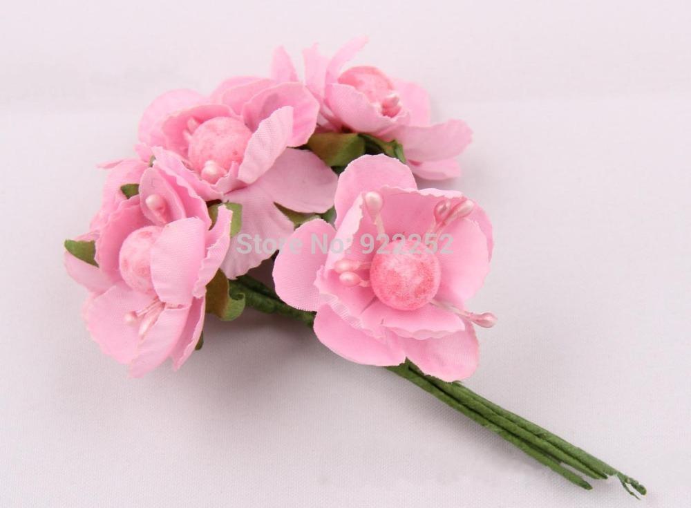 Aliexpress Com Buy Mini Artificial Silk Flower Bouquet Cherry Blossom Branches Diy Craft