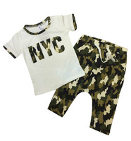 2014 New fashion summer children's clothing set Costume Camouflage T-shirt dance Hip Hop harem capris pant kids sport suits