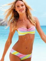 free  shipping factory wholesale new 2014 style women sexy steel bracket swimsuit  bikini rainbow beach bathing suit