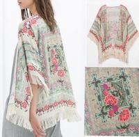 2014 New Summer Autumn Women Vintage Ethnic Paisley Floral Print Loose Kimono Cardigan Tassels Shirts No Button Blouses Tops