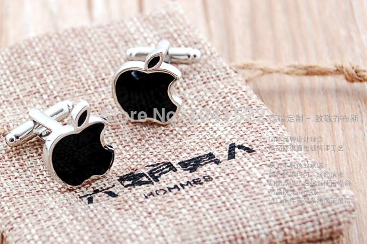 2014 New Style Black White Apple Shaped Men's Cufflinks Free Shipping(China (Mainland))