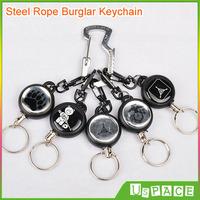 Outdoor Steel Rope Burglar Keychain TAD STALKER equipment Retractable Steel wire Key Chain