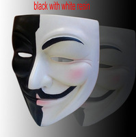 new black add white resin v mask  V for Vendetta Guy Fawkes Anonymousv The movie theme prop Halloween Masquerade Party Cosplay