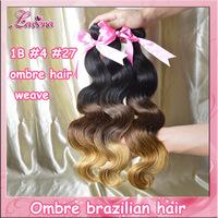 3 tone ombre human hair extensions 3pcs 4pcs lot 1B #4 #27 brazilian ombre virgin hair weave body wave,Brazilian Hair Products