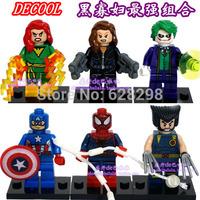 High Quality No box Super Hero Black Widow Captain America Spiderman Mini Figure 6pcs/lot Children Building Blocks Free Ship