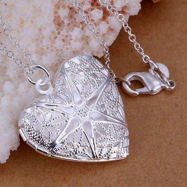 P185_2 925 sterling silver Necklace, 925 silver fashion jewelry Heart -shaped mesh flower photo frame /arlajisa cecakvja(China (Mainland))