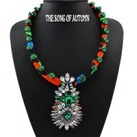 2014 Fashion Shourouk Crystal Necklaces & Pendants Unique Hand-made Neon Women Jewelry Flower Statement Necklace