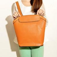 Newest 2014 Triplepurpose School Backpack Simple PU Leather Shoulder Bag Handle Bag laptop backpack for girl/female KB-011