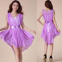 2014 New Summer Fairy Tail Chiffon Dress Dress Vest Sleeveless Dress 206#.