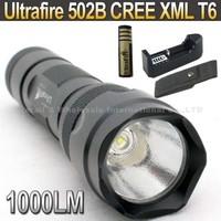 20SET/LOT Ultratfire WF- 502B CREE XML T6 1000LM 5-Mode LED Flashlight Torch+ 4000mah 18650 Battery+ Charger+pouch