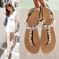 Free Shipping new summer 2014 Female pearl diamond Flat pinches elegant sandal shoes