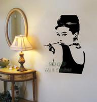 Hepburn wal sticker sticker. DIY home decoration Removable Wall art sticker,Wall Art Decals DQ14020