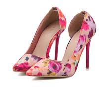 New 2014 Floral Print Purple Red Green Summer cutout Women High Heels Shoes Women Pumps