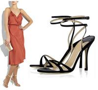 New 2014 Summer Elegant  Gold Sliver Silk Belt Women High Heels Sandals Cross Belt Thin Heels Sandals for Women