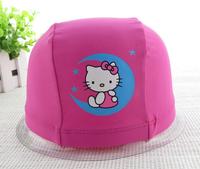 (10 Pcs/Lot) Fashion Lovely Flexible Nylon Hello Kitty Children Girl's Cartoon Swimming Cap