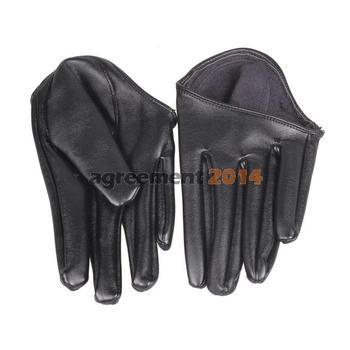 Hot Woman Tight Half Palm Gloves Imitation Leather Five Finger Черный ARE4