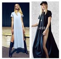 2015 Fashion Minimalist Casual T shirt Two Sides split dress sexy party bandage dress