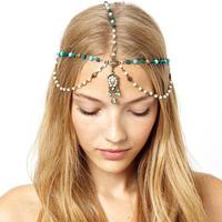 CCF370 Handmade Beaded Bohemian Head Chain hair chain, Chain headpiece, Boho hair head jewelry, Music Bridal hair