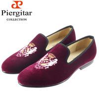 Fashionable velvet loafer embroidered for men shoes