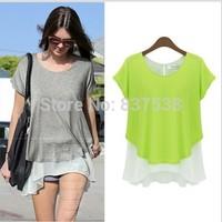 Chiffon T-shirt Tops for Women atacado roupas femininas  New Fashion Loose size Solid Color Shirt Short-sleeve Top Tee S-XL