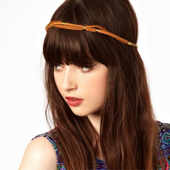 SF369 Black Leather Elastic Hairband Headband Hair accessories women(China (Mainland))