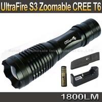 UltraFire 12W 1800 Lm CREE XM-L T6 Focus Adjust Zoom Led mini Flashlight Torch+ 4000mAh Battery+Charger +Pouch
