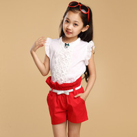 Children's clothing female child summer 2014 little girl clothes child baby shorts sports set