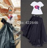 2014 summer women's red lips t-shirt+ temptation irregular organza bust skirt two pieces women's clothing set