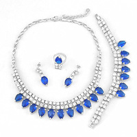 frican  jewelry sets high quality jewery set wedding party jewelry set 18k gold big blue stone