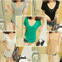 Free shipping  2014 European and American  women big  V-neck  pocket loose short-sleeved T-shirts 464