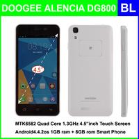 100% Original DOOGEE DG800 MTK6582 Quad Core 1.3GHz 4.5 inch IPS 960x540 Screen 1GB RAM 8GB ROM 8MP+13MP 3G WCDMA GPS Cell Phone