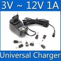 AC 100-240V EU plug + 6pcs Tip key Universal AC/DC Power Adapter 3V 4.5V 5V 6V 7.5V 6V 12V Charger Power Supply