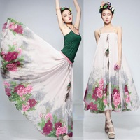 New 2014 Summer Fashion Chiffion Saia Long Floral Skirts Womens Plus Size Ball Gown Skirts Female Saia Brance Skirt 1026