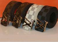 Classic leather belts for men women Golden pin buckle fashion tide men couple models wild casual belt unique belts plaid x 10pcs