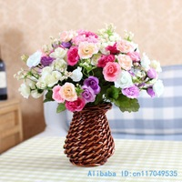 1 PCS Beautiful Fake Artificial Flower Silk Rose Wedding Bouquet 3 Colors Available F218