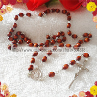 free shipping 8*6mm wooden oval bead rosary/catholic rosary necklace/pope centerpiece rosary special offer(30pcs/set)
