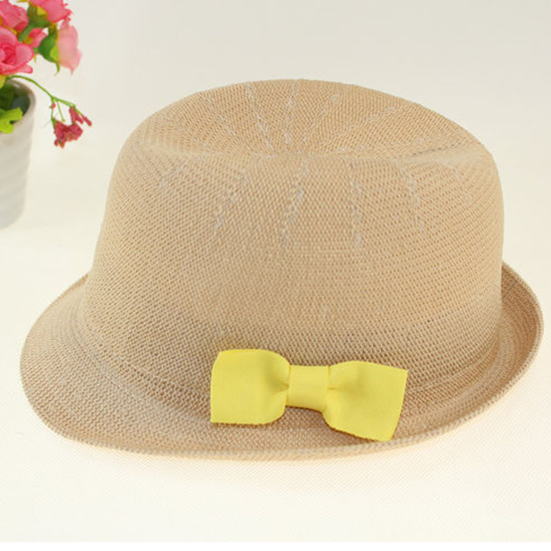 Child hat summer breathable casual fedoras bow sun hat roll-up hem bonnet(China (Mainland))