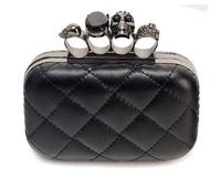 2014 New Arrival High Quality Black Skull Knuckle Vintage Handbag Day Clutch Evening  Bag With Shoulder Chain Best Gift FA6101