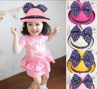 Retail 2014 Big Dot Knot Baby Girls Sun Hat Mickey Children Straw Summer Caps Visor Free Shipping