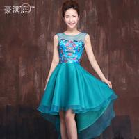 New Design Embroidery Flower Irregular Hem Bridesmaid Dress Blue Sleeveless Organza Satin Fabric Party Dresses