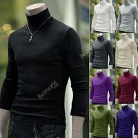2014 New Men Casual Slim T Shirt Turtle Neck Turtleneck Sweater Stretch Cotton Blends Jumper Tee Tops 9 Color Plus Size M-XXL