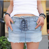 Spring Summer New 2014 Fashion Washed Ripped Denim Skirt  Lace-Up Pencil Skinny Mini Shorts Skirts For Women Girl Plus Size 5318