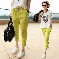2014 Plus Size Women's Elegant Bow Tie Pants Cozy Cotton Trouses Elastic Waist Pocket Pencil Capris Casual Slim Brand Design 3XL