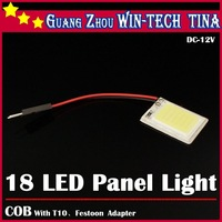 Wholesale 2PCS/LOT 3W T10 COB Chip 18 LED Dome Festoon Lamp White Light Panel Interior Adapter Car Led Panels Bulb