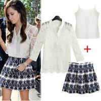 2014 Europe Brand New Fashion Women Vintage Dress Girl Casual White Lace & Print Short Vestidos Clothing Set Free Shipping